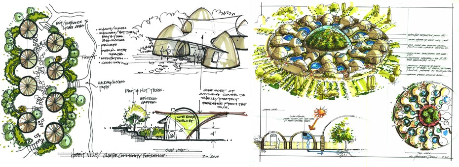 Green building, eco-architecture, sustainable living and One Community